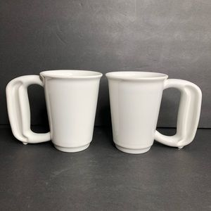 2 Jamber USA White Easy to Hold 12oz Mugs - FLAWS